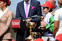 Winning jockey of PRINCE OF PENZANCE, Michelle Payne<br /> VRC Spring Racing Carnival <br /> 155th Melbourne Cup / Race 7<br /> Flemington Racecourse / Melbourne <br /> Australia  Tuesday3rd November 2015<br /> &copy; Sport the library / Jeff Crow