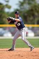 Minnesota Twins Blake Schmit (19) during practice before a minor league spring training game against the Baltimore Orioles on March 28, 2015 at the Buck O'Neil Complex in Sarasota, Florida.  (Mike Janes/Four Seam Images)