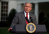 Washington, DC - September 13, 2008 -- United States President George W. Bush makes a statement outside the Oval Office on the damage caused by Hurricane Ike on the Gulf Coast and State of Texas on Saturday, September 13, 2008.<br /> Credit: Martin H. Simon / Pool via CNP