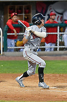 T.J. Friedl (9) of the Billings Mustangs follows through on his swing against the Orem Owlz in Game 2 of the Pioneer League Championship at Home of the Owlz on September 16, 2016 in Orem, Utah. Orem defeated Billings 3-2 and are the 2016 Pioneer League Champions. (Stephen Smith/Four Seam Images)