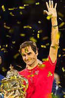 27th October 2019; St. Jakobshalle, Basel, Switzerland; ATP World Tour Tennis, Swiss Indoors Final; Roger Federer (SUI) holds the winners trophy after winning the match against Alex de Minaur (AUS) - Editorial Use