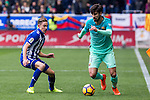Club Deportivo Alaves'es midfielder Marcos Llorente competes for the ball with FC Barcelona's midfielder Andre Gomes  during the match of La Liga between Deportivo Alaves and Futbol Club Barcelona at Mendizorroza Stadium in Vitoria, Spain. February 11, 2017. (ALTERPHOTOS/Rodrigo Jimenez)
