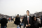January 19, 2009. Washington, DC..Thousands of people congregated on the National Mall on the day before the inauguration of Barack Obama, the 44th president of the United States.. Many posed for photos with a cardboard cutout of the new president.
