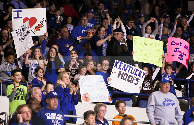 Kentucky fans held up signs to cheer the Cats on during the first half of the UK Hoops versus Tennessee basketball game at Memorial Coliseum in Lexington , Ky., on Thursday, January 29, 2015. Photo by Jonathan Krueger | Staff