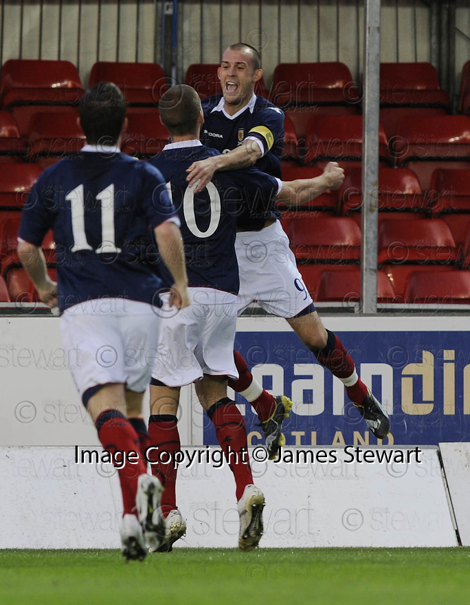 04/09/2008  Copyright Pic: James Stewart.File Name : sct_jspa07_scotland_v_slovenia.STEVEN FLETCHER CELEBRATES AFTER SCORING SCOTLAND'S FIRST.James Stewart Photo Agency 19 Carronlea Drive, Falkirk. FK2 8DN      Vat Reg No. 607 6932 25.James Stewart Photo Agency 19 Carronlea Drive, Falkirk. FK2 8DN      Vat Reg No. 607 6932 25.Studio      : +44 (0)1324 611191 .Mobile      : +44 (0)7721 416997.E-mail  :  jim@jspa.co.uk.If you require further information then contact Jim Stewart on any of the numbers above........