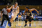 29 December 2015: Duke's Haley Gorecki (2) and Western Carolina's Angel Allen (20). The Duke University Blue Devils hosted the Western Carolina University Catamounts at Cameron Indoor Stadium in Durham, North Carolina in a 2015-16 NCAA Division I Women's Basketball game.