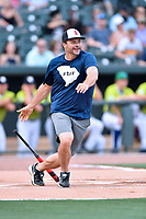 First baseman Ryan Klesko swings at a pitch during a game against the soldiers as part of the All Star Game festivities at Spirit Communications Park on June 19, 2017 in Columbia, South Carolina. The Soldiers defeated the Celebrities 1-0. (Tony Farlow/Four Seam Images)