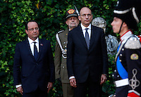 Il Presidente del Consiglio Enrico Letta accoglie il Presidente francese Francois Hollande, a sinistra, per il vertice intergovernativo italo-francese a Villa Madama, Roma, 20 novembre 2013.<br /> Italian Premier Enrico Letta welcomes French President Francois Hollande, left, on the occasion of the intergovernmental summit between Italy and France at Villa Madama, Rome, 20 November 2013.<br /> UPDATE IMAGES PRESS/Isabella Bonotto