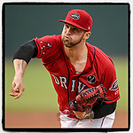 Starting pitcher Alex Scherff (18) of the Greenville Drive earned the 11-1 win by pitching seven innings against the Asheville Tourists on Friday, August 23, 2019, at Fluor Field at the West End in Greenville, South Carolina. (Tom Priddy/Four Seam Images) #MiLB