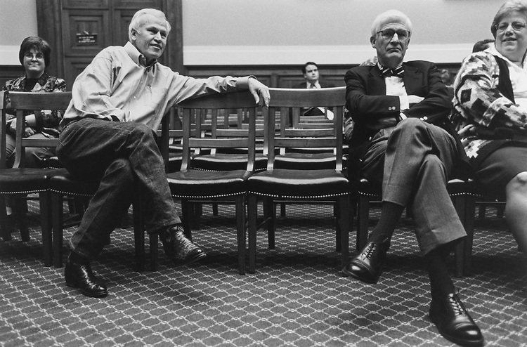 Rep. Charles Stenholm, D-Tex., Rep. Thomas J. Bliley, R-Va., awaiting the room lottery process to begin on Nov. 12, 1996. (Photo by Maureen Keating/CQ Roll Call)