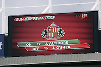 Pictured: Scoreboard with the final score. Sunday 11 May 2014<br /> Re: Barclay's Premier League, Sunderland v Swansea City FC at the Stadium of Light, Sunderland, UK.