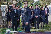 "Steven Cabral as Raymond Collins, the Funeral Director and Tyler Blackburn as Caleb in ABC Family's ""Ravenswood""."