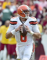 Cleveland Browns quarterback Cody Kessler (6) looks for a receiver in first half action against the Washington Redskins at FedEx Field in Landover, Maryland on October 2, 2016.<br /> Credit: Ron Sachs / CNP /MediaPunch ***EDITORIAL USE ONLY***