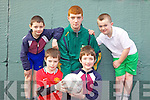 who took part in the futsal soccer tournament for local primary school students in Listowel Community Centre on Friday morning. From front l-r were: Darragh Mulvihill and Conor McCarthy. Back l-r were: David Lucey, Timmy Noonan (coach from Listowel Community College) and Jake Shine.