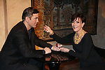 """As The World Turns' Colleen Zenk stars in Marrying George Clooney: Confessions from a Midlife Crisis and poses with """"George Clooney"""" on February 16, 2012 at Madame Tussauds Wax Museum, New York City, New York.  (Photo by Sue Coflin/Max Photos)"""