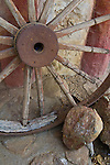 Wooden Wagon wheel decor at Leo Carillo Ranch Historic Park, near Carlsbad, San Diego County, California