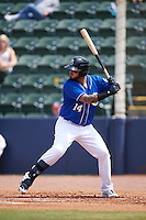 Biloxi Shuckers first baseman Nick Ramirez (14) at bat during a game against the Birmingham Barons on May 24, 2015 at Joe Davis Stadium in Huntsville, Alabama.  Birmingham defeated Biloxi 6-4 as the Shuckers are playing all games on the road, or neutral sites like their former home in Huntsville, until the teams new stadium is completed in early June.  (Mike Janes/Four Seam Images)