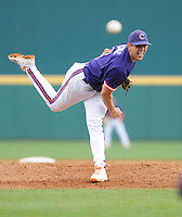 Starting pitcher Dominic Leone (6) of the Clemson Tigers throws a pitch in a game against the South Carolina Gamecocks on March 3, 2012, at Carolina Stadium in Columbia, South Carolina. South Carolina won, 9-6. (Tom Priddy/Four Seam Images)