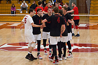 STANFORD, CA - January 2, 2018: Jake Stuebner, Eli Wopat, Jacob Thoenen, JP Reilly, Eric Beatty, Russell Dervay at Burnham Pavilion. The Stanford Cardinal defeated the Calgary Dinos 3-1.