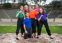"Cast of the Occidental College Children's Theater production of ""Noah's Jurassic Ark"" - Savannah Gilmore '15 (orange), Giulia Davis '13 (green), Sarah Martellaro '14 (purple), Aly Fritz '14 (red), Bo Lundgren '13 (pink) and Tristan Waldron '12 (blue). Directed by Jamie Angell. July 10, 2013 in the Remsen Bird Hillside Theater. (Photo by Marc Campos, Occidental College Photographer)"