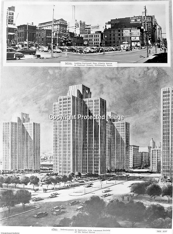Pittsburgh PA: View of one of the photographs and artwork used in the presentation to the city's planning committee - 1949.