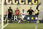10 AUG 2010: Herculez Gomez (USA) takes a corner kick. The United States Men's National Team lost to the Brazil Men's National Team 0-2 at New Meadowlands Stadium in East Rutherford, New Jersey in an international friendly soccer match.