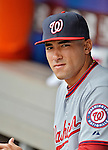 11 April 2012: Washington Nationals shortstop Ian Desmond sits in the dugout prior to a game against the New York Mets at Citi Field in Flushing, New York. The Nationals shut out the Mets 4-0 to take the rubber match of their 3-game series. Mandatory Credit: Ed Wolfstein Photo