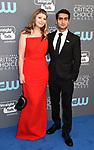 SANTA MONICA, CA - JANUARY 11: Writer Emily V. Gordon (L) and actor Kumail Nanjiani  attend The 23rd Annual Critics' Choice Awards at Barker Hangar on January 11, 2018 in Santa Monica, California.