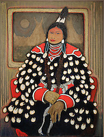 Knows Her Medicine, Crow Indian, painting, acrylic on canvas, 1981, by Kevin Red Star, Crow artist, b. 1943, in the William Sr and Dorothy Harmsen Collection at the Denver Art Museum, Denver, Colorado, USA. Picture by Manuel Cohen