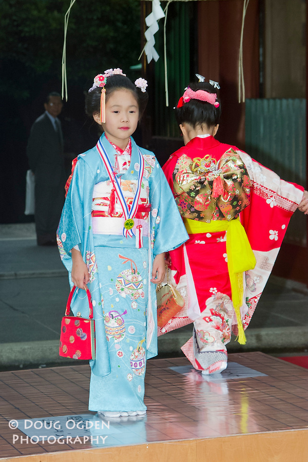 Girls in traditional dress,  Tokyo, Japan