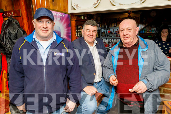 Paul Murphy, Justin Horgan and Jerry Fitzgerald enjoying Cheltenham Races in Linnanes on Thursday.