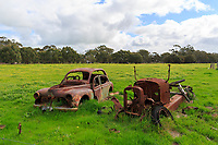 Rusted Cars in a field near Duck Lagoon on Kangaroo Island, South Australia, Australia.