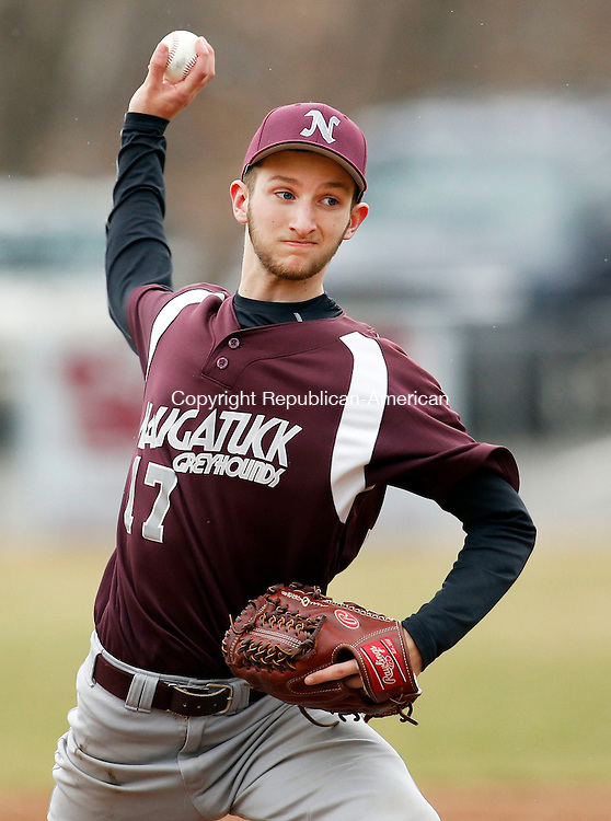 Naugatuck, CT- 08 April 2015-040815CM06- Naugatuck's Evan Pelliccia delivers a pitch during their NVL matchup against Watertown at Rotary Field on Wednesday.   Christopher Massa Republican-American