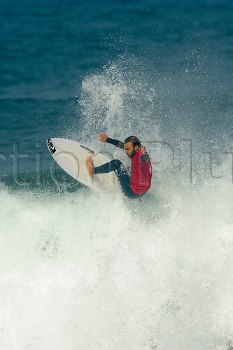 April 19th Bells Beach, Melbourne, Victoria, Australia; Rip Curl Pro Bells Beach Surfing; Caio Ibelli (BRA) jumping high above a wave during his quarter final heat against Frederico Morais (PRT); Caio Ibelli (BRA) went on to win the heat