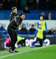 Lincoln City manager Danny Cowley, front, and Lincoln City's assistant manager Nicky Cowley<br /> <br /> Photographer Chris Vaughan/CameraSport<br /> <br /> Emirates FA Cup Third Round - Everton v Lincoln City - Saturday 5th January 2019 - Goodison Park - Liverpool<br />  <br /> World Copyright &copy; 2019 CameraSport. All rights reserved. 43 Linden Ave. Countesthorpe. Leicester. England. LE8 5PG - Tel: +44 (0) 116 277 4147 - admin@camerasport.com - www.camerasport.com