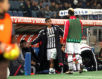 Calcio, Serie A: Lazio vs Juventus. Roma, stadio Olimpico, 4 dicembre 2015.<br /> Juventus' Paulo Dybala, left, greets his teammate Mario Lemina as he leaves the pitch during the Italian Serie A football match between Lazio and Juventus at Rome's Olympic stadium, 4 December 2015.<br /> UPDATE IMAGES PRESS/Isabella Bonotto