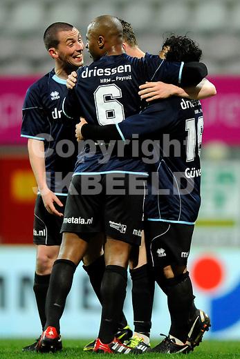 EMMEN - Voetbal, FC Emmen - Helmond Sport, Jupiler League, Unive stadion, seizoen 2011-2012, 30-03-2012 Helmond Sport viert de 0-1..