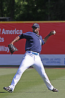 Jason Hayward of the Myrtle Beach Pelicans throwing from the outfield before a game against the Kinston Indians on April 21, 2009