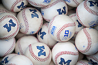 University of Michigan baseballs on May 3, 2016 at Ray Fisher Stadium in Ann Arbor, Michigan. (Andrew Woolley/Four Seam Images)