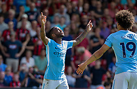 Raheem Sterling of Manchester City points to the heavens after his 97th minute winning but is sent off after his celebration during the Premier League match between Bournemouth and Manchester City at the Goldsands Stadium, Bournemouth, England on 26 August 2017. Photo by Andy Rowland.