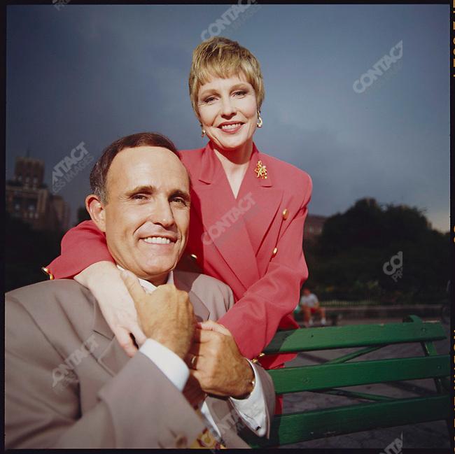 New York City Mayor Rudolph Giuliani, and his wife, Donna Hanover. New York City, New York, USA, 1995.