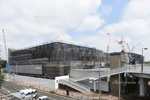 Musashino Forest Sport Centre, July 10, 2015 : A view shows construction at the Musashino Forest Sport Centre, which is planned to be a Tokyo 2020 Olympics venue for Modern Pentathlon (fencing) and proposed venue for Badminton, in Chofu, Tokyo. (Photo by AFLO SPORT)