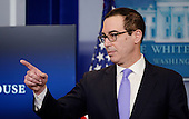United States Secretary of the Treasury Steven Mnuchin speaks in the Press Briefing Room of the White House on February 14, 2017 in Washington, DC. <br /> Credit: Olivier Douliery / Pool via CNP