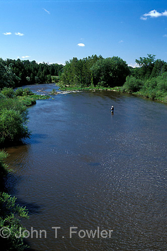 Fly fishing for trout on Grand River, Ontario<br />