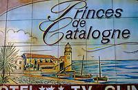 Europe/France/Languedoc-Roussillon/66/Pyrénées-Orientales/Collioure: détail céramique, enseigne de l'hôtel des Princes de Catalogne