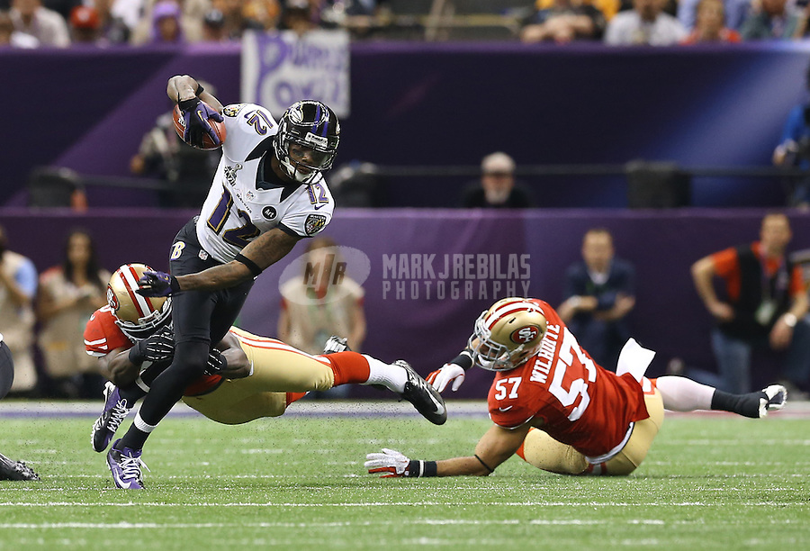 Feb 3, 2013; New Orleans, LA, USA; Baltimore Ravens wide receiver Jacoby Jones (12) against the San Francisco 49ers in Super Bowl XLVII at the Mercedes-Benz Superdome. Mandatory Credit: Mark J. Rebilas-
