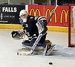 SIOUX FALLS, SD - APRIL 16:  Charlie Lindgren #35 from the Sioux Falls Stampede watches the puck slide away after a save against the Lincoln Stars in the first period of their 2013 USHL playoff game Tuesday night at the Sioux Falls Arena. (Photo by Dave Eggen/Inertia)