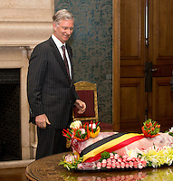King Philippe of Belgium receives a paschal lamb  - Brussels