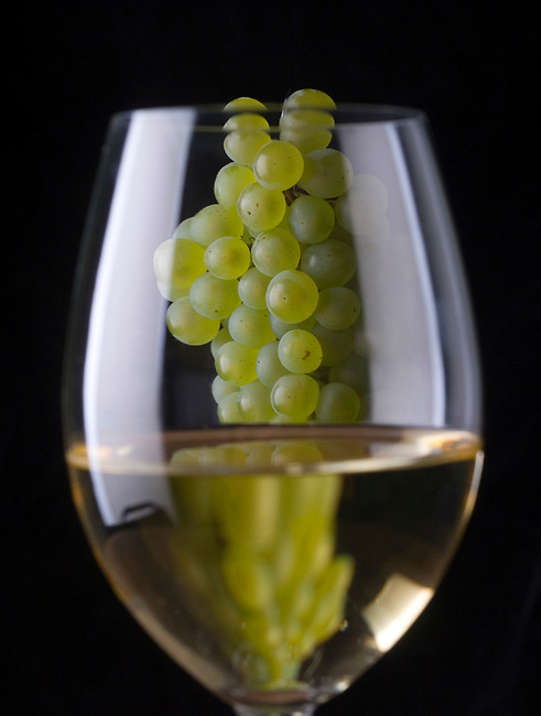 Chardonnay grapes and glass