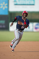Dale Carey (20) of the Hagerstown Suns hustles towards third base against the Kannapolis Intimidators at CMC-Northeast Stadium on July 19, 2015 in Kannapolis, North Carolina.  The Suns defeated the Intimidators 9-4.  (Brian Westerholt/Four Seam Images)